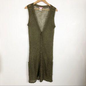 Kiliwatch open knit button down long green vest